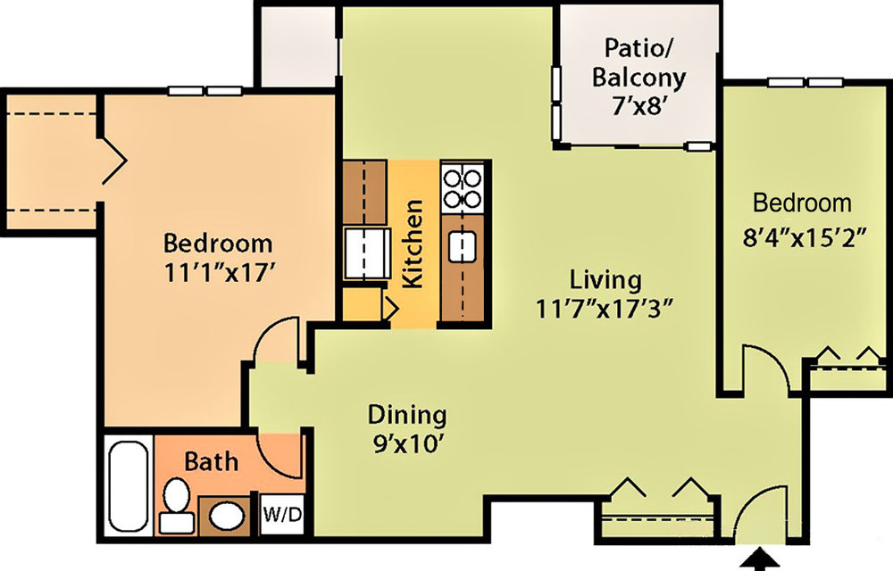876 sq ft, $1,419 - $1,719