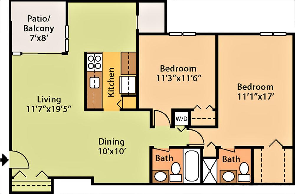 978 sq ft, $1,459 - $1,759