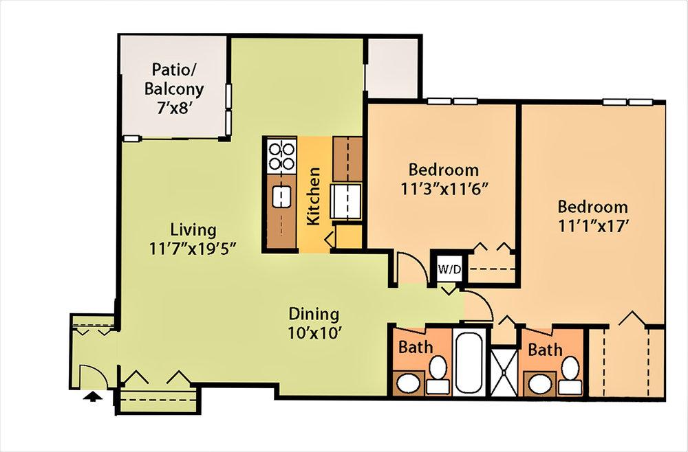1,008 sq ft, $1,510 - $1,810