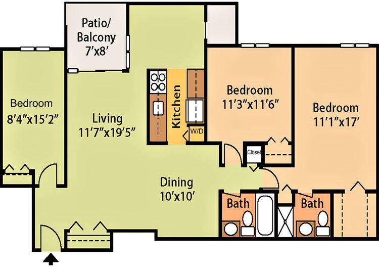 1,134 sq ft, $1,645 - $1,979