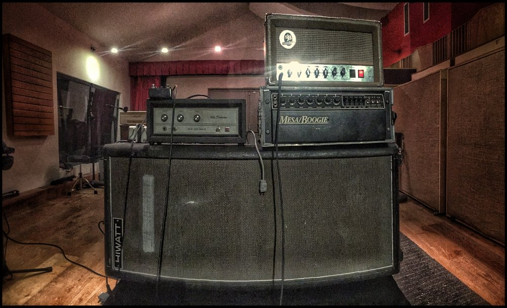 Vintage Vertical HiWatt 4x12 with Silvertone, Mesa and SJB Heads