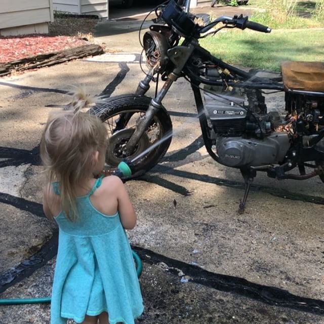 Finally hired a detailer.  She's the best in the biz.  Quick clean on the Suzuki gt550 before she goes looking for a new home at the Baxter cycle open house auction.