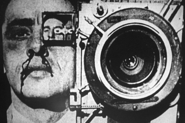 Paolo Gioli ,  The Perforated Cameraman , 1979,  still from a black-and-white film, 9 minutes.