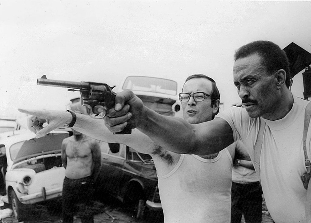 "The director Fernando Di Leo, left, on the set of ""The Italian Connection"" (1972)"