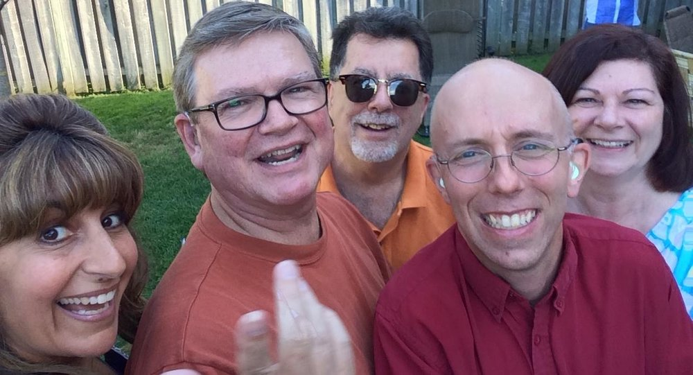 CHHA York Region Board BBQ. 2014. Right to left: Patrizia Stulov, Dan McDonnell, Bruce Hunter, Toby Laws and Lauren. (Three men and two women in summer garb all smiling for a selfie.)
