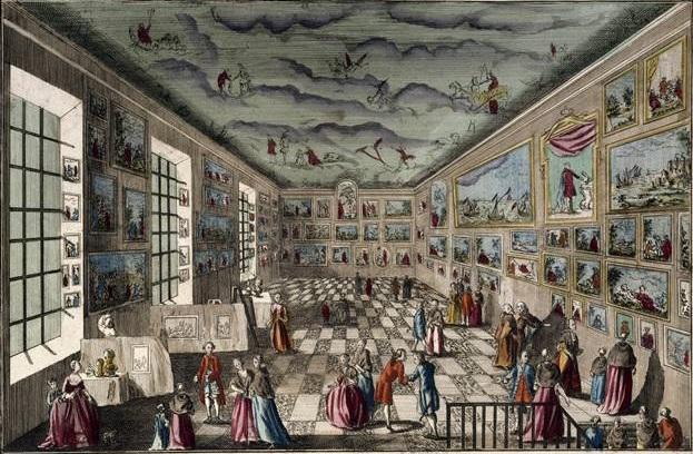 Vue perspective du Sallon de l'Académie Royale de Peinture et de Sculpture au Louvre   Published in Paris by Basset (rue St. Jacques à St. Geneviève) around 1778