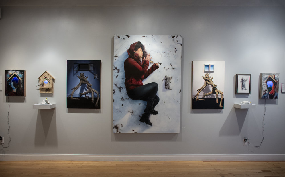"""Install from Vertical Galleries """"Counterparts"""" featuring Chicago Artists Joseph Renda Jr, Crop, and Pizza in the Rain"""