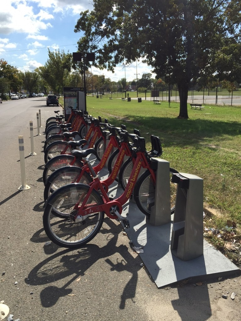 Anacostia park lacks the public transportation options that other places have. This is the only bikeshare station located along the eastern branch of the Waterfront Trail.