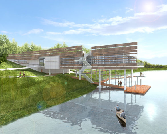 A proposal by Studios Architecture for a river center on Kingman Island. A new master plan for Kingman Island will be released by DOEE later this year.
