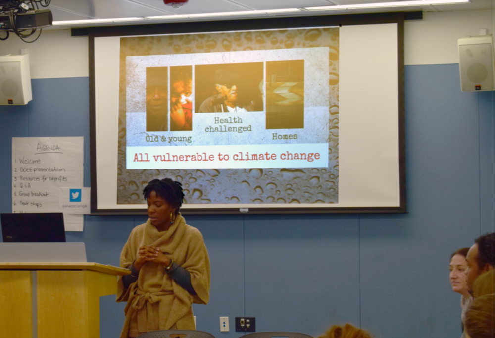 Angele Doyne of the ERFSC presents about the overlap of climate change and social services.