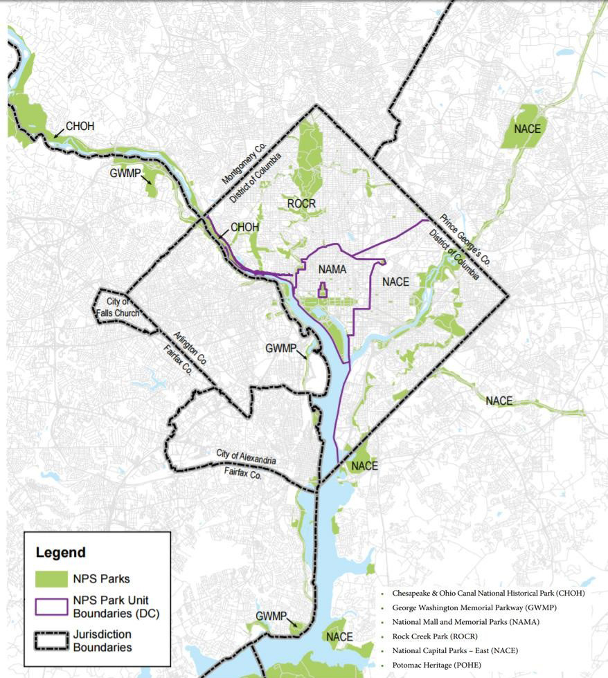 National Park Service Administrative Unit boundaries in the DC area. Source: National Capital Region Paved Trails Study / AECOM