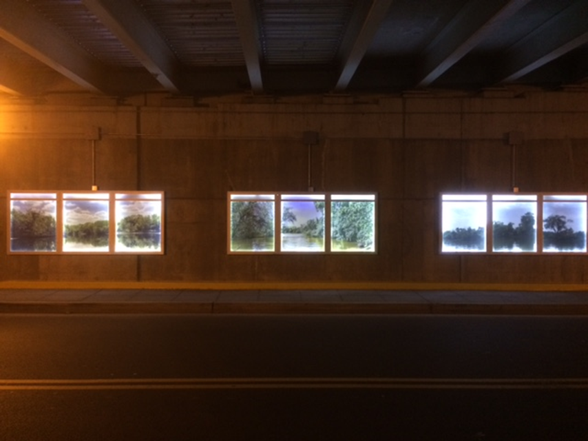 An installation by photographer Bruce McNeil lines the sidewalks through the underpass toward Anacostia Park at Good Hope Road SE.