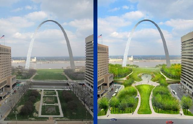St. Louis, like DC, has a waterfront park managed by the National Park Service and separated from the community by a highway. The future plans for the park include expanding the park over the highway: archpark.org.