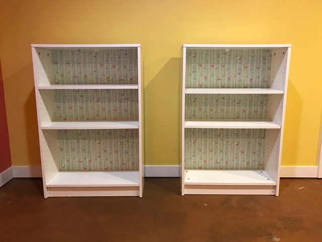 Another fun project was adding fabric to the back of the cute little bookcases I got!