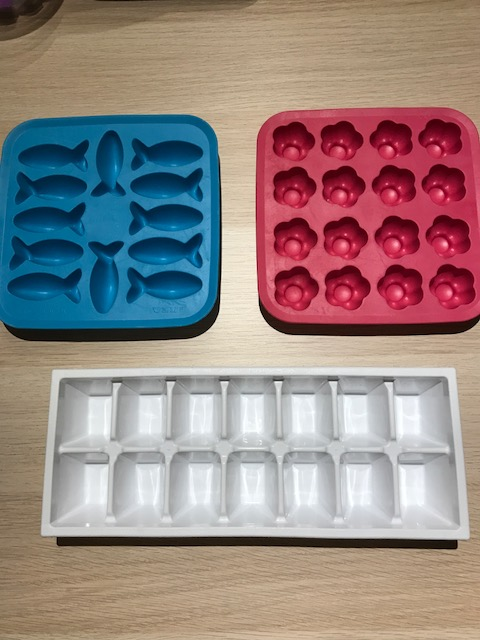 Just about any ice cube tray works. The fish and the flower ones are from Ikea if you want to spice things up!