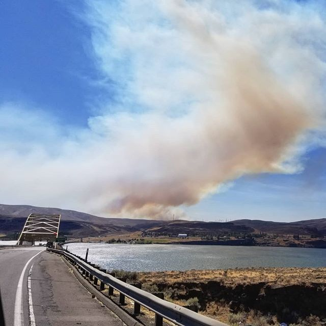 As we crossed the  Columbia River we realized we were heading right for the #BoylstonFire we had been watching along the way. East bound I-90 was already shut down, but the fire had speed to our side and felt as hot sitting next to a campfire as we drove by. Yes, that's a truck full of hay that drove through it 😳, and no I wasn't driving. . . . . #wildefire #brushfire #fire #washington #washingtonstate #kittitas #columbiariver #feeltheheat #smoke #firefighter #firefighting #firstresponders