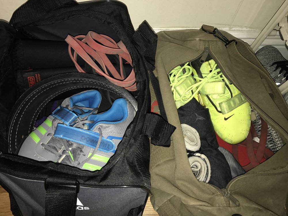 Our gym bags are always prepared and ready to go with us to work... -