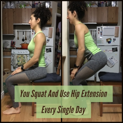You perform hip extensions multiple times throughout the day.