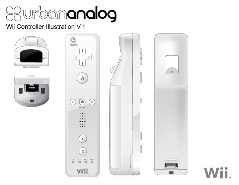 Wii Controller designed in Adobe Illustrator