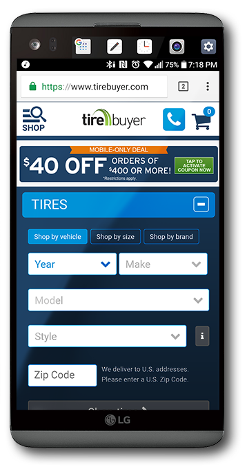 Above:  The mobile home page for the  TireBuyer.com  website.  Note:   While much has changed in the two years since I left TireBuyer...My footprint can still be seen on nearly every page. TireBuyer is a great company and I remain close to my team and the company president.