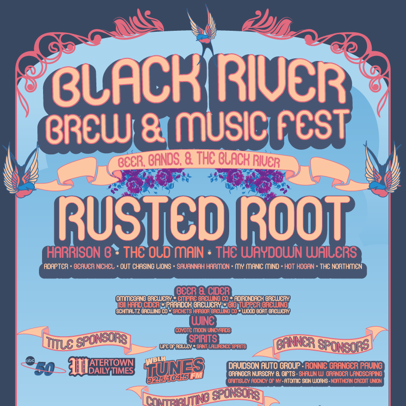 BLACK RIVER BREW & MUSIC FEST - Poster and Social collateral for NY Music festival featuring Rusted Root and a tasting of various craft beers, wines, and Spirts