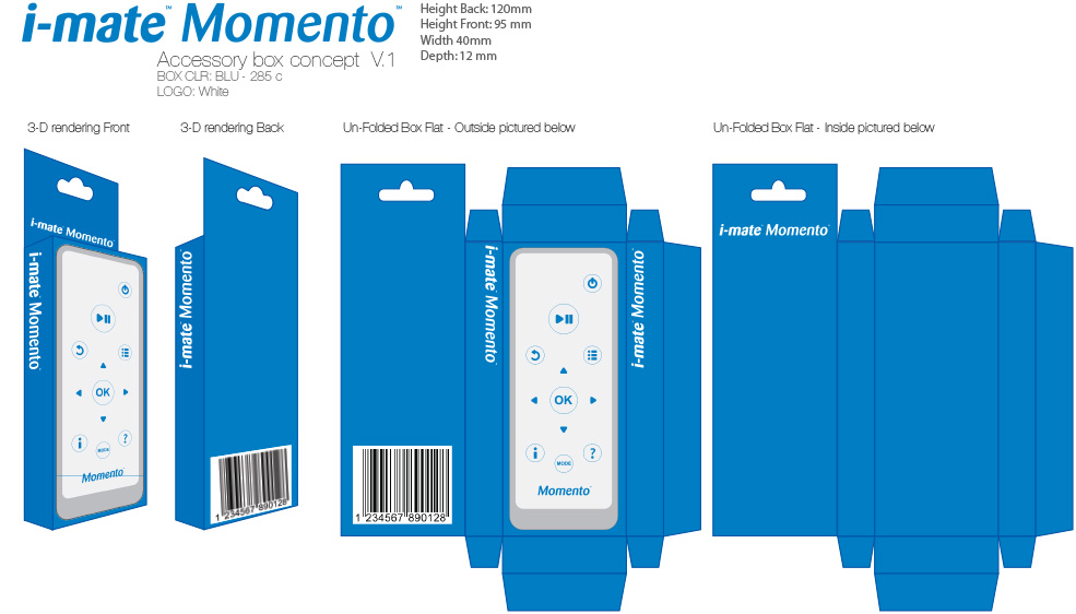 Blue variant packaging for screen remote product