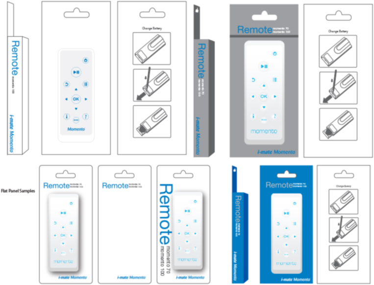 Finished design with variant packaging for screen remote product - Also present is Bubble packed option