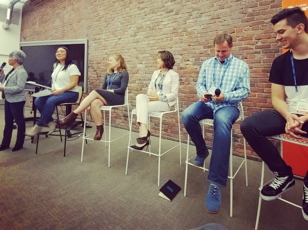 Social & Networking Panel: LEFT TO RIGHT(SEATED): Brenna Hindman - CEO, Socialight Consulting, Emily Carrion - VP of Marketing, SmartAssist, Angela Shen - CEO, Savor Seattle Food Tours, Mike Grabham - Inventor, Package Guard Inc., Ruvim Achapovskiy CEO, SocialBomb.co