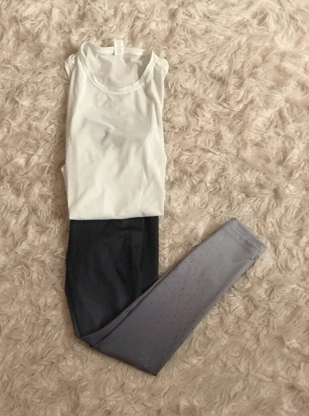 51883a8419a0 The cropped tank is a great mesh material that keeps me cool during a hot  workout at Studio 3. And the 7 8 length tights ...