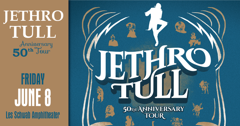To celebrate this golden anniversary, Ian Anderson will present  50 years of Jethro Tull  at  Bend's Les Schwab Amphitheater   on June 8  as part of the worldwide touring schedule.