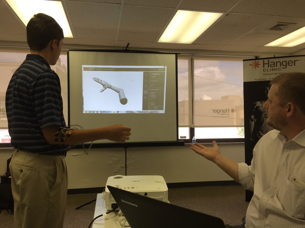 Attached sensors make the arm move on the screen -- learning how to use the sensors