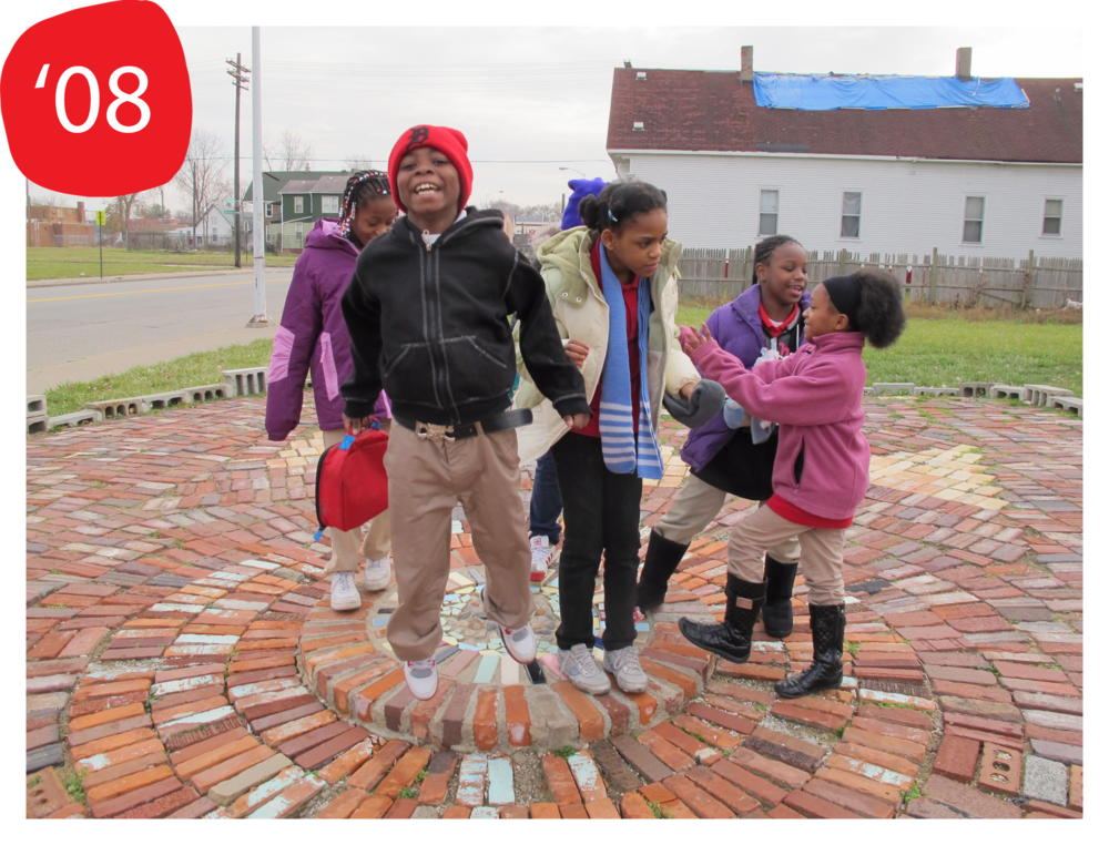 Students from Clark Preparatory Academy visit the Heidelberg Project in part of the ACE2 program (ACE2 launched 2008; Photo taken 2012)