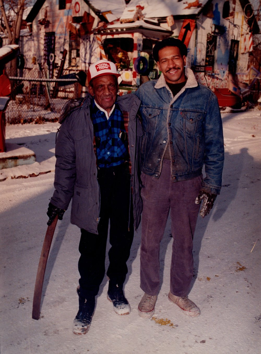 Grandpa Sam Mackey and Tyree Guyton (Photo from the HP archives, circa 1989)