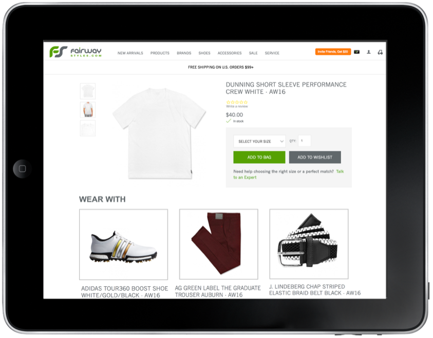 Making outfit suggestions can help upsell and encourage customers to shop new brands within the Fairway Styles site that they haven't bought before.