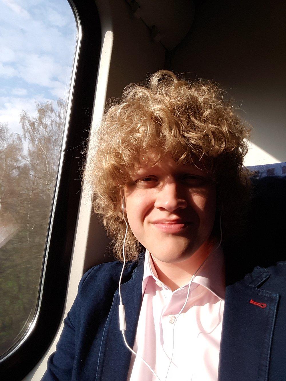 Me in the train to Frankfurt.