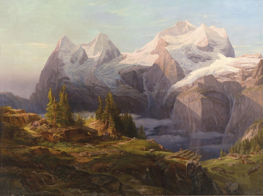 Figure 2 – Anton Hansch's painting of the big three mountains of Eiger, Mönch, and Jungfrau, part of the Swiss Alps (1857).