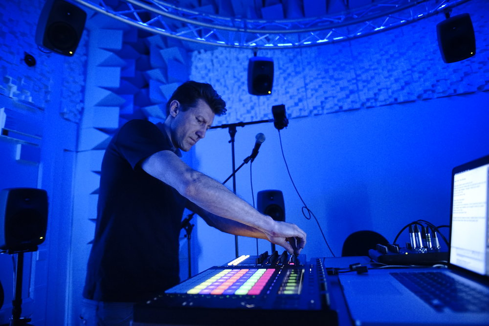 Figure 19 – Livestream performance setup in the Spiral Studio: Laptop with Ableton software and 2 controllers (Push 2 and Launchpad Control XL), 2018.