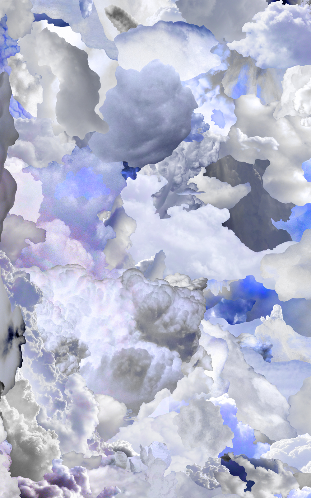 Case Simmons, Simmons & Burke, Blue Clouds B, Cloud Collage, Pigment Print, Digital Collage, Digital Art, Photoshop Collage, Contemporary Collage, Case Simmons Art, Collage Fine Art, Epson Metallic Print, Abstract Digital Collage, Kohn Gallery