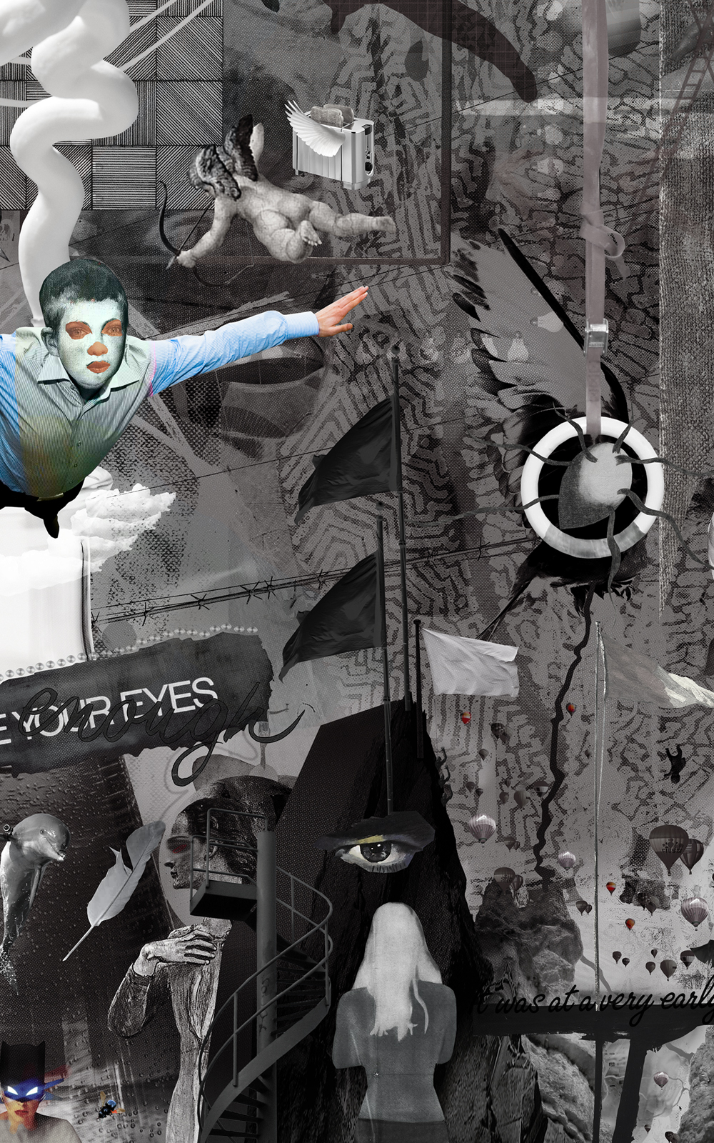 Case Simmons, Simmons & Burke, If Not Summer #2, Kohn Gallery, Hieronymus Bosch, Lightjet Print, Digital Collage, Digital Art, Photoshop Collage, Contemporary Collage, Case Simmons Art, Case Simmons Artist, Collage Fine Art, Hyper Collage, Future Collage, Black and White Collage