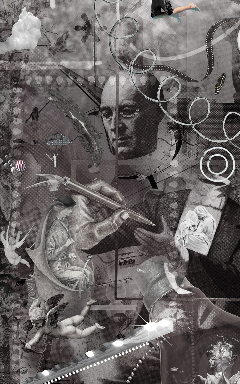 Case Simmons, Simmons & Burke, If Not Summer #2, Kohn Gallery, Hieronymus Bosch, Lightjet Print, Digital Collage,Digital Art, Photoshop Collage, Contemporary Collage,Case Simmons Art, Case Simmons Artist, Collage Fine Art, Hyper Collage, Future Collage, Black and White Collage, Digital Landscape