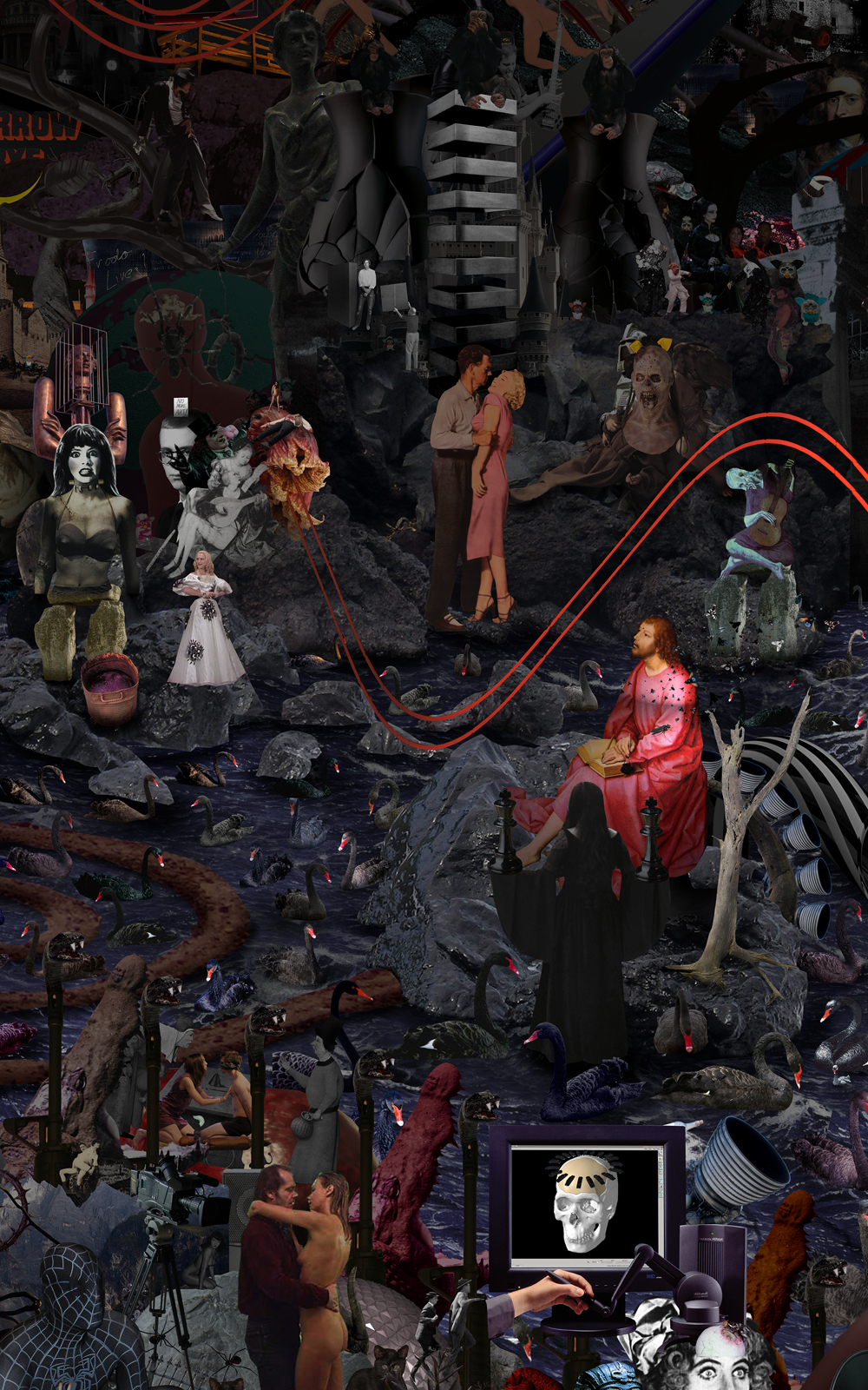 Case Simmons, Simmons & Burke, To Your Scattered Bodies Go #2, Hieronymus Bosch, Lightjet Print, Digital Collage, Digital Art, Photoshop Collage, Collage of Darkness, Horror Collage, Case Simmons Art, Case Simmons Artist, Collage Fine Art