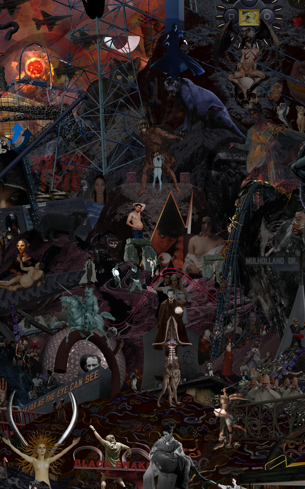 Case Simmons, Simmons & Burke, To Your Scattered Bodies Go #2, Hieronymus Bosch, Lightjet Print, Digital Collage,Digital Art, Photoshop Collage, Collage of Darkness, Horror Collage,Case Simmons Art, Case Simmons Artist, Collage Fine Art