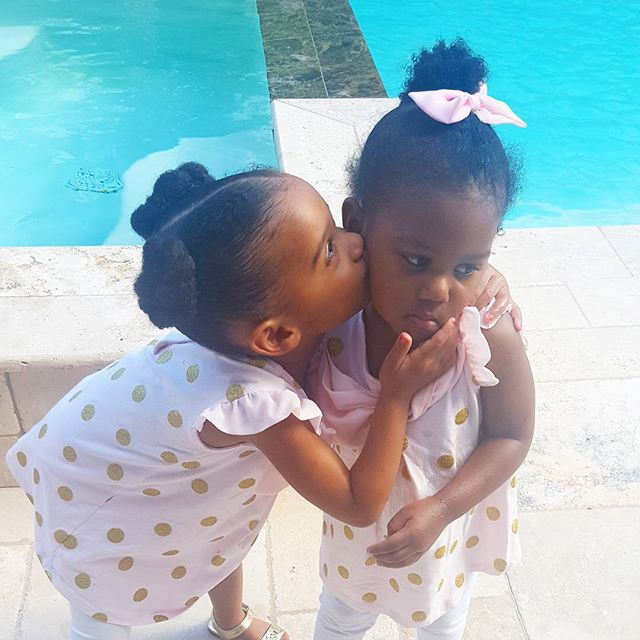 Nothing like a kiss from your sister to make it all better!