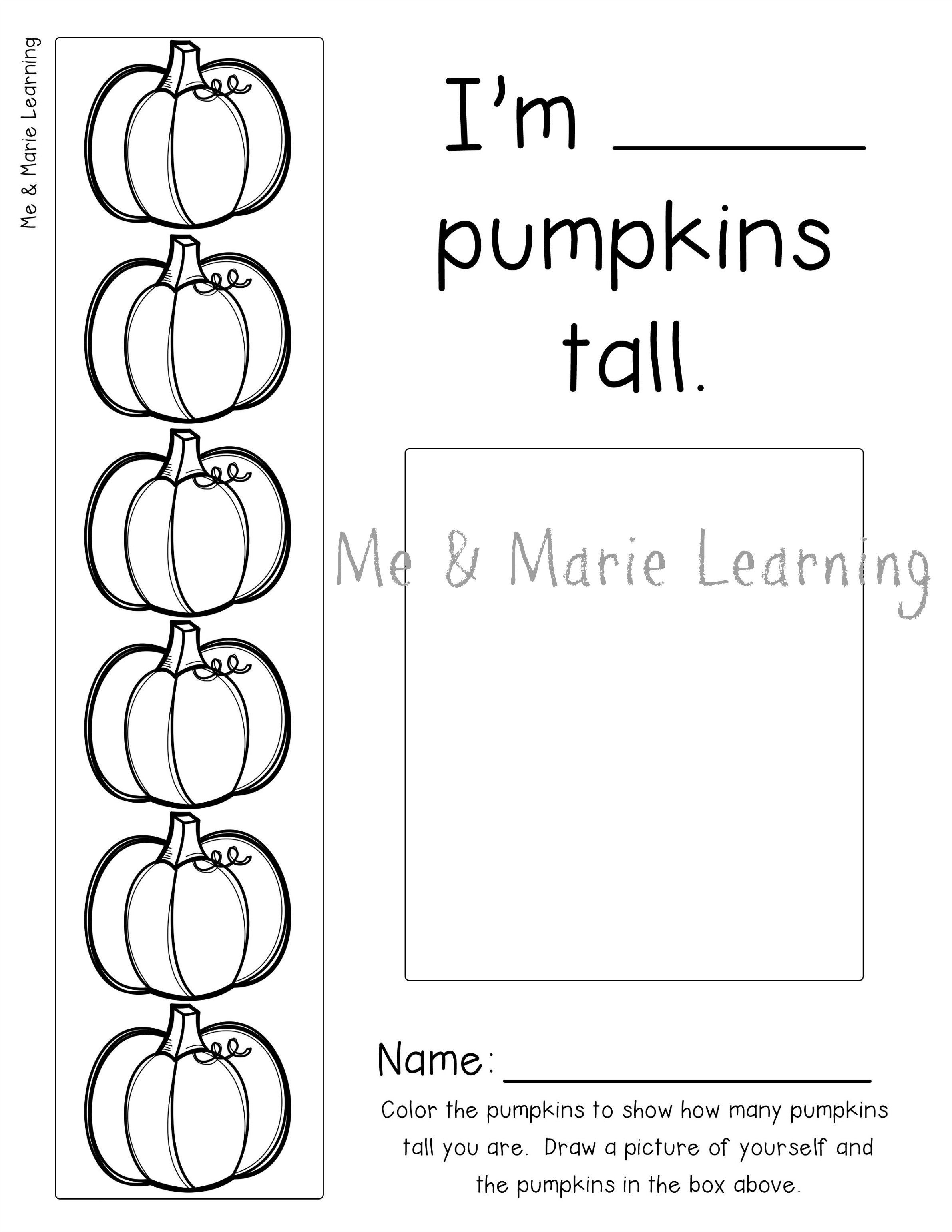 pumpkins tall printable