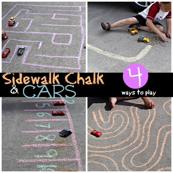 sidewalk chalk and cars