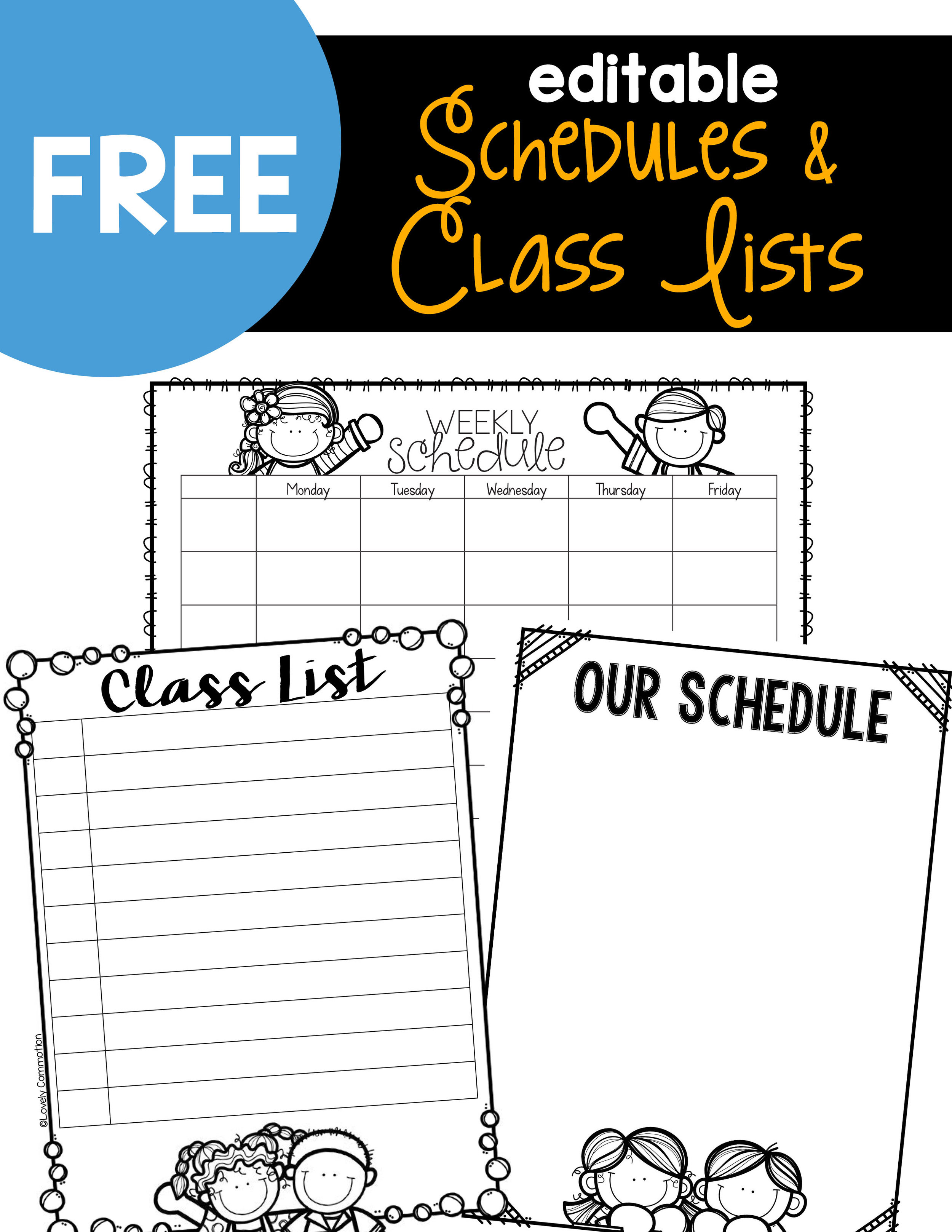 Editable Schedules Class Lists Lovely Commotion