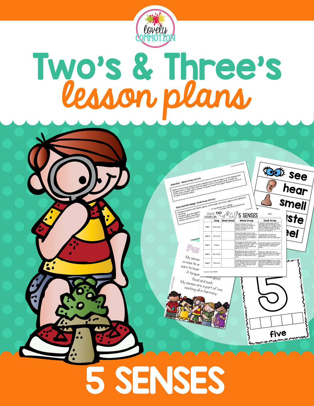 5 senses two and three year old lesson plan.