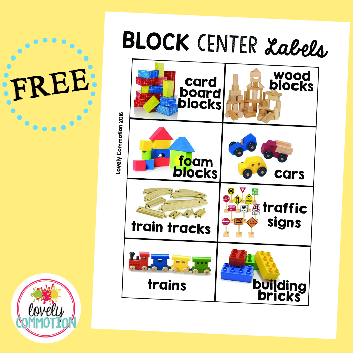 Preschool Block Center Labels