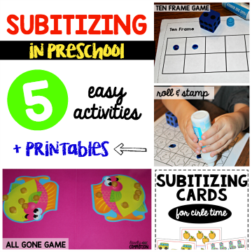 Subitizing in preschool - 5 easy activities + printables.