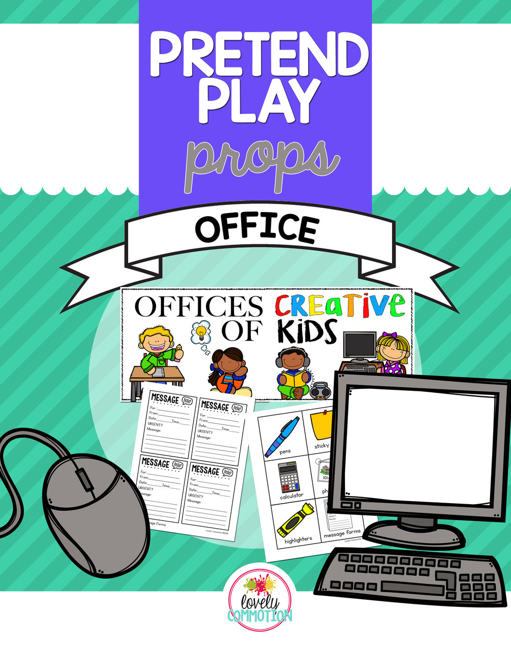 Pretend Play Office Printables for the Preschool Drama Center.